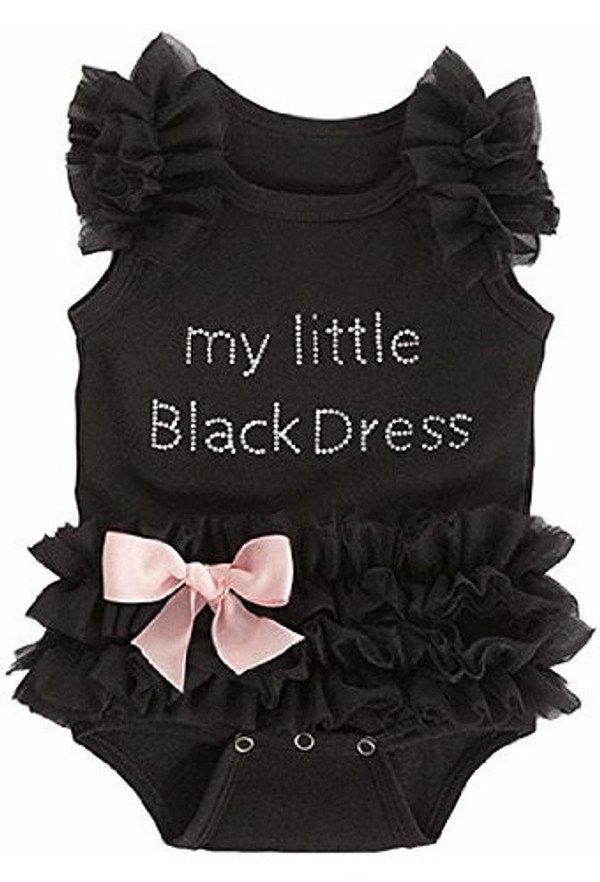 """""""My Little Black Dress"""" Onsie with  Pink Bow"""