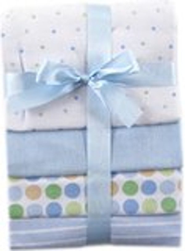 Blue Flannel Receiving Blankets - Set of 4