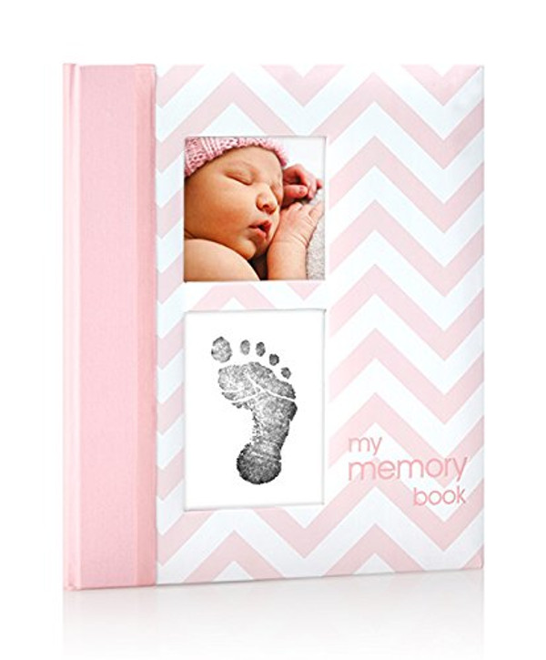Baby Girl - Pink Baby Book with Clean-touch Ink
