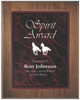 Red Marble Plaque with Dark Wood Backdrop 352