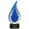 Blue Twist Rain Drop Art Glass Statuette