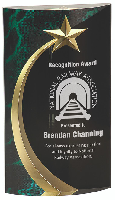 Clear Acrylic Convex Award with Black and Green Shooting Star Backdrop 166