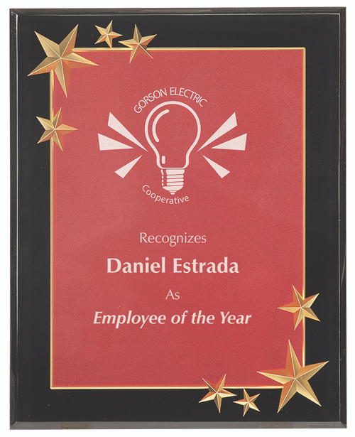 Red Plaque with Black Acrylic Backdrop with Gold Stars 303
