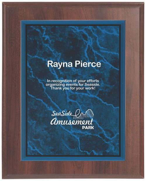 Blue Marble Plaque with Dark Wood Backdrop 356