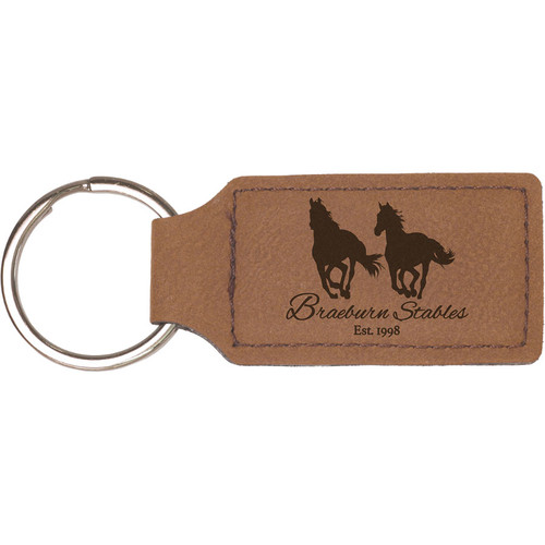 Leatherette Rectangular Tag Key Ring