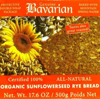 BAVARIAN SLICED ORGANIC SUNFLOWER BREAD 500g