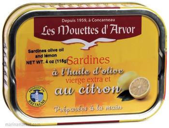 LES MOUETTES d' ARVOR SARDINES IN EVOO AND LEMON 115g