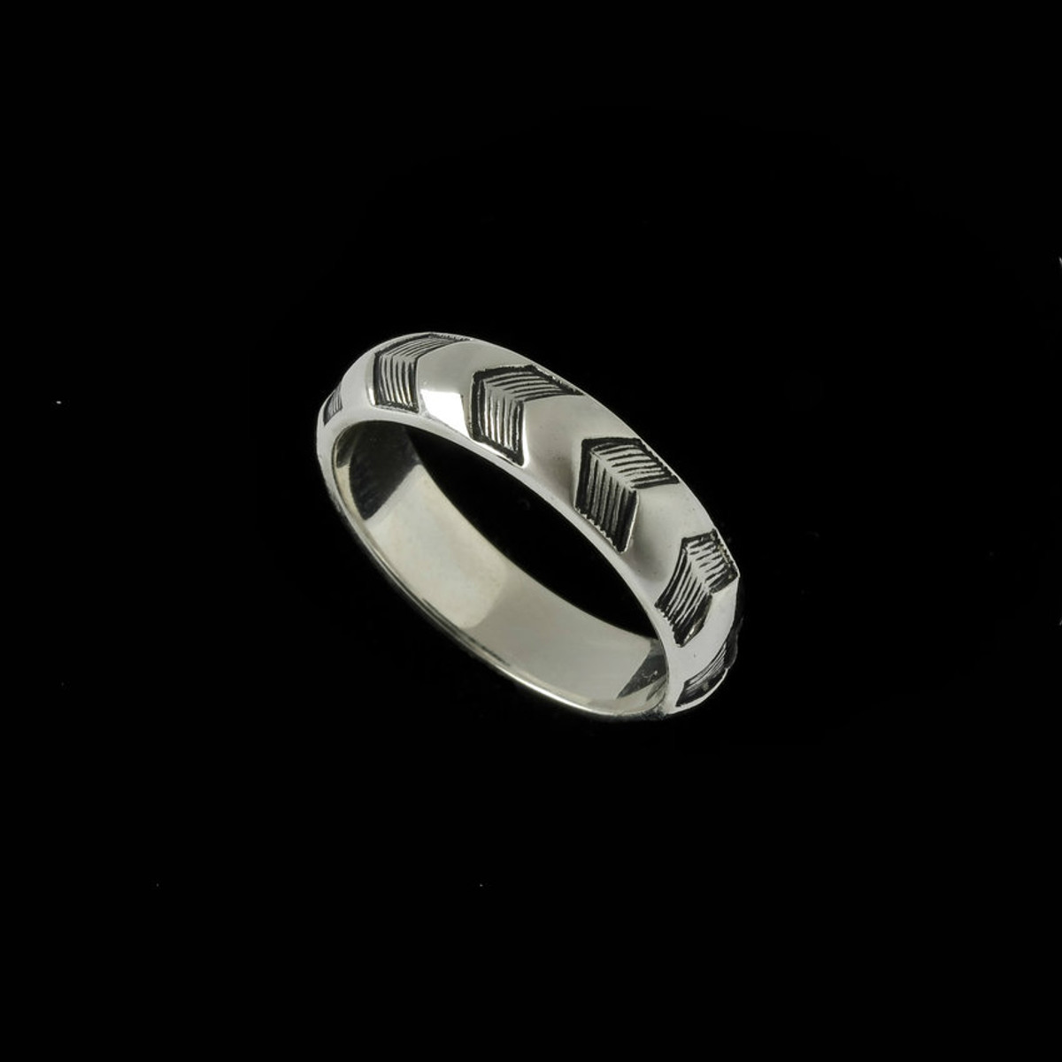 Chevron Wedding Ring Band Silver handmade Bowman Originals