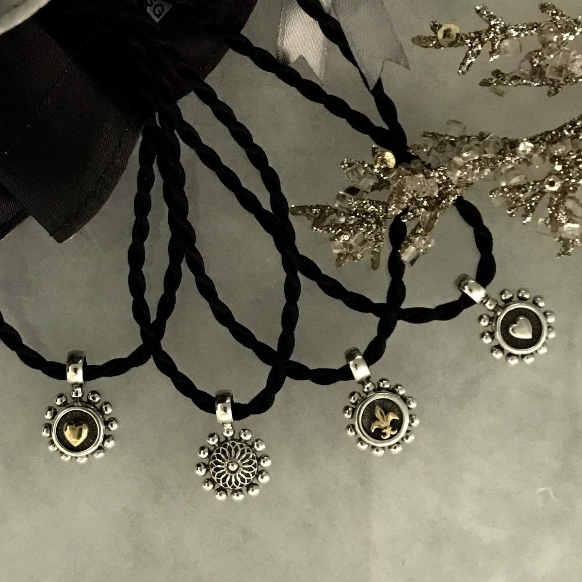 Beaded heart pendant silver silk cord handmade bowman originals handmade pendants silver gold silk cord by bowman originals sarasota aloadofball Choice Image