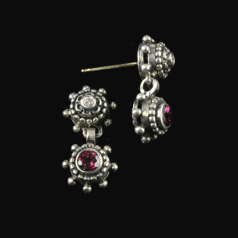 Drop Earrings, Silver, Diamond, Rhodolite Garnet handmade by Bowman Originals, Sarasota, 941-302-9594