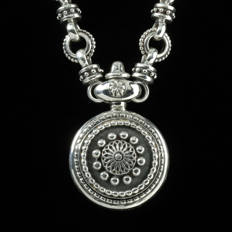 Sundial Necklace handmade in sterling silver in Sarasota, Florida by Ned Bowman, Bowman Originals Jewelry. Made in the USA.