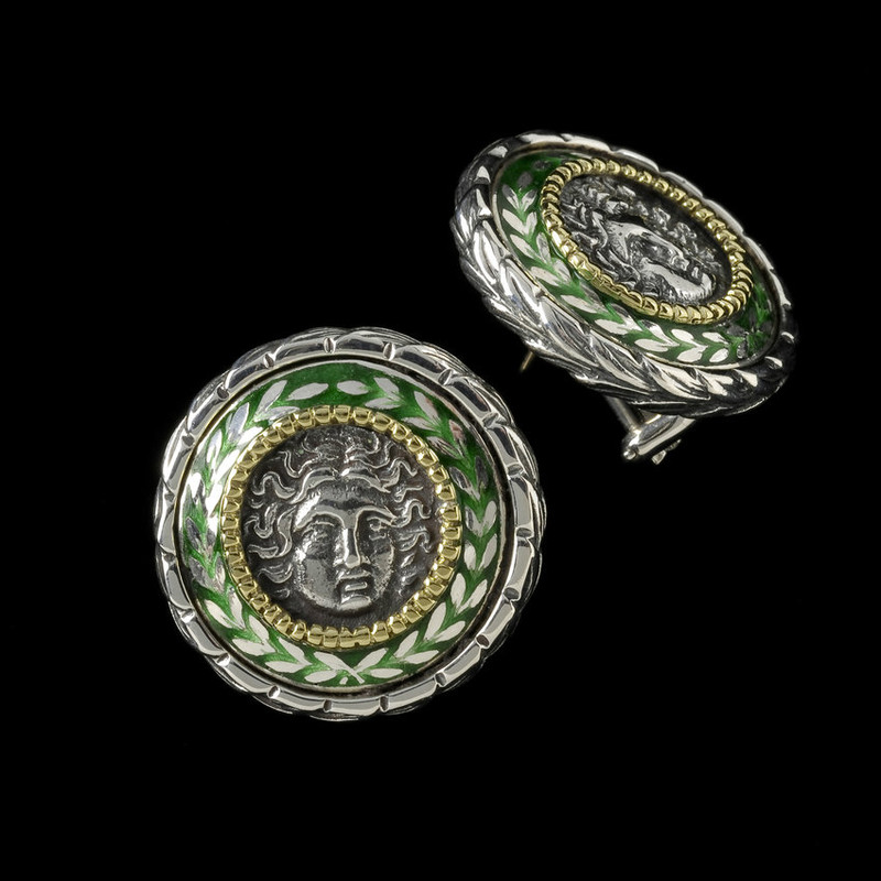 Helios Earrings with enamel custom handmade in sterling silver and 18 k gold by Bowman Originals, USA