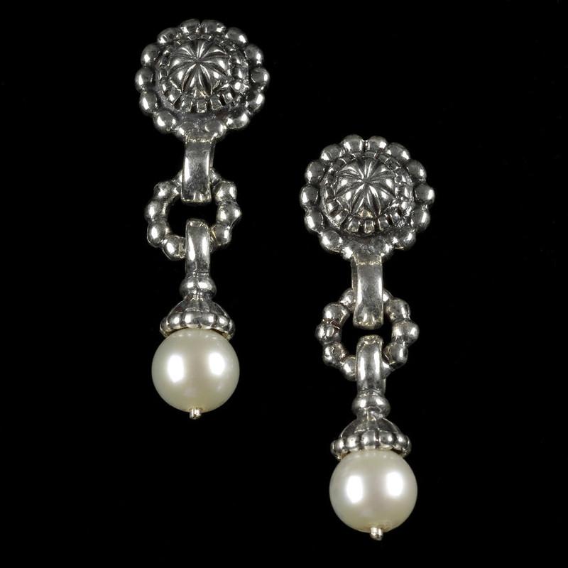 Pearl Drop Earrings in Sterling Silver custom handmade by Bowman Originals, USA