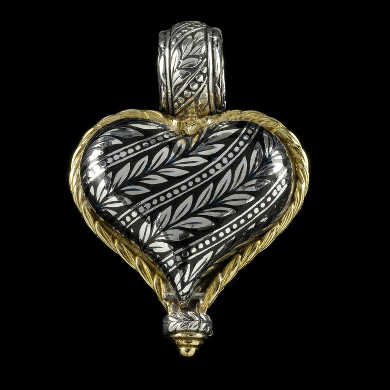 Heart Pendant, reversible, enamel, silver, gold, engraved by Bowman Originals, USA