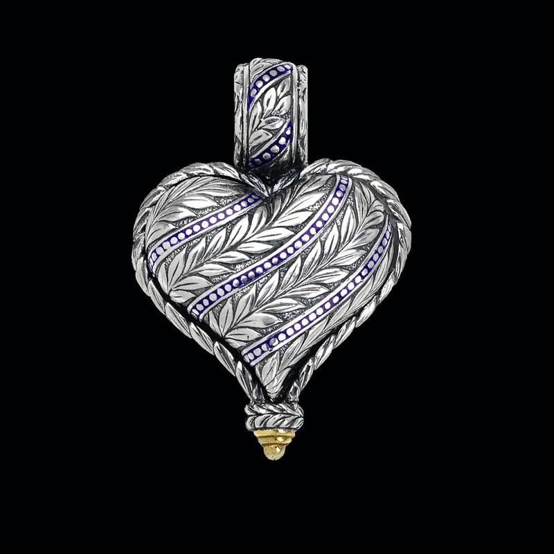 Heart Pendant, handmade, engraved  Sterling Silver, 18 k Gold, Enamel by Bowman Originals, Sarasota, 941-302-9594.