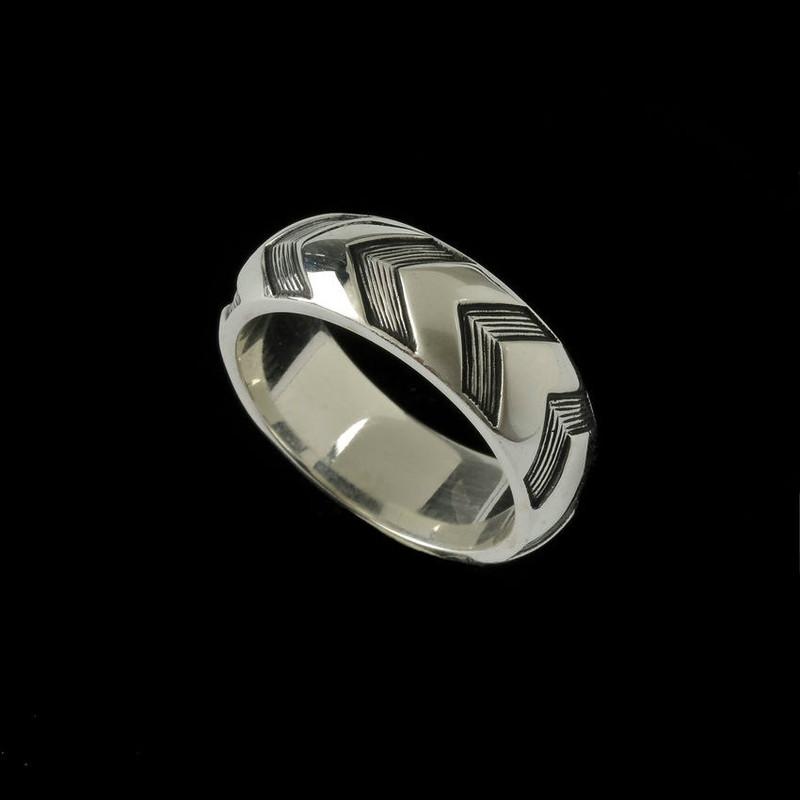 Chevron Wedding Ring Band, Sterling Silver,  unique custom engraved by Bowman Originals, Sarasota, 941-302-9594