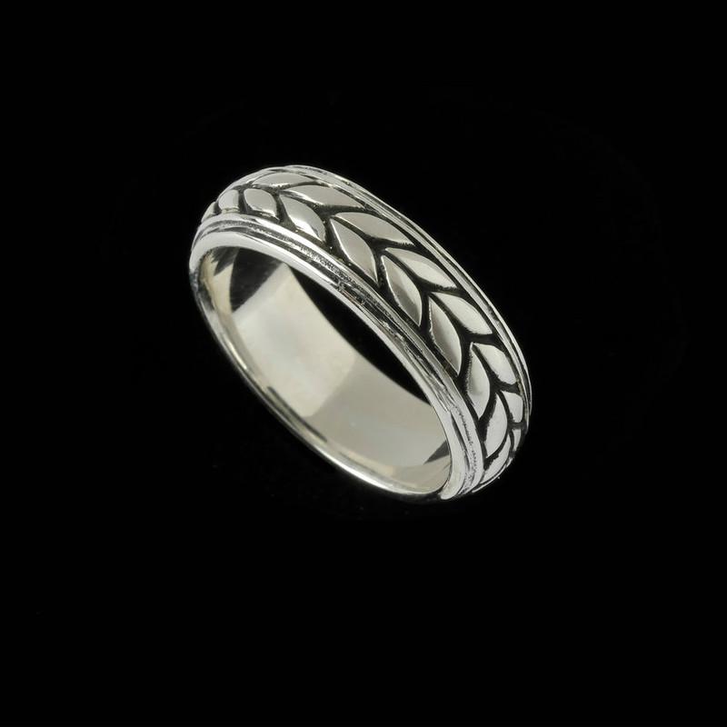 Handmade Sterling Silver Leaf Ring Band engraved by Bowman Originals, Sarasota, 941-302-9594.