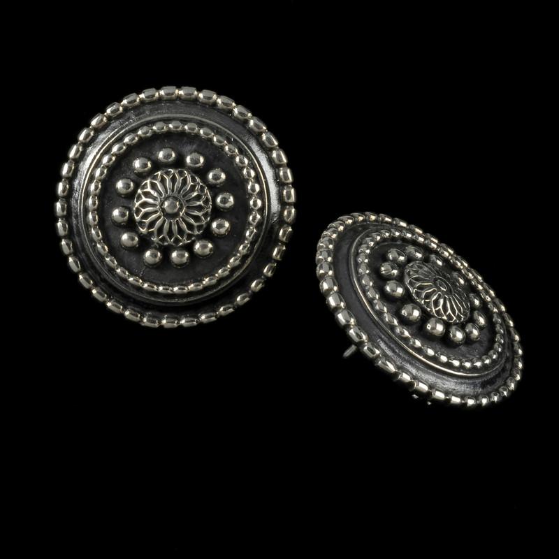 Sundial Earrings, Silver, Handmade Bowman Originals, USA