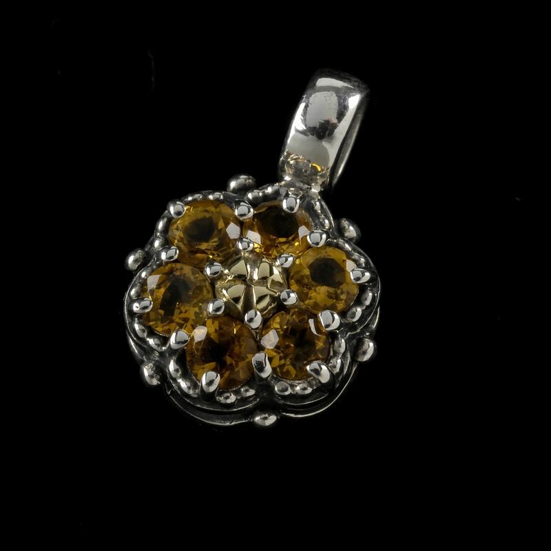 Citrine Gemstone in Sterling Silver and 18 k Gold handmade by Bowman Originals, Sarasota, 941-302-9594