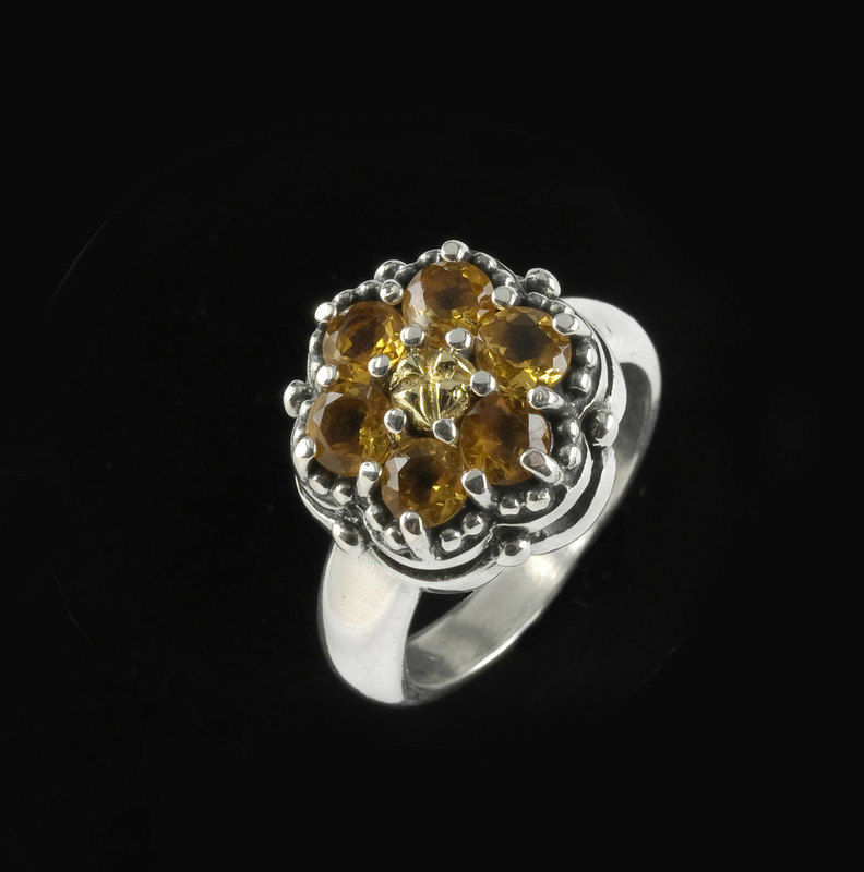 Citrine Cluster Ring handmade in Sterling Silver and 18 K Gold by Bowman Originals, Sarasota, 941-302-9594