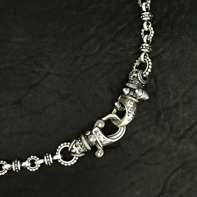 """Sterling Silver handmade beaded link chain with two """"Hooks"""" by Bowman Originals, Sarasota, 941-302-9594"""