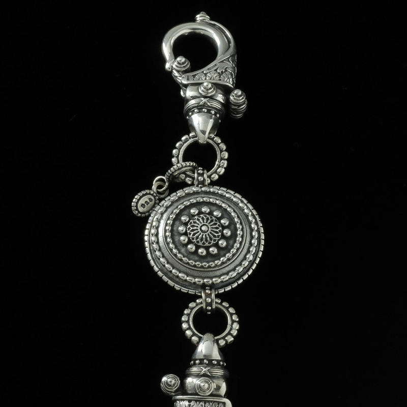 Key Chain details in beaded and engraved Silver by Bowman Originals, USA