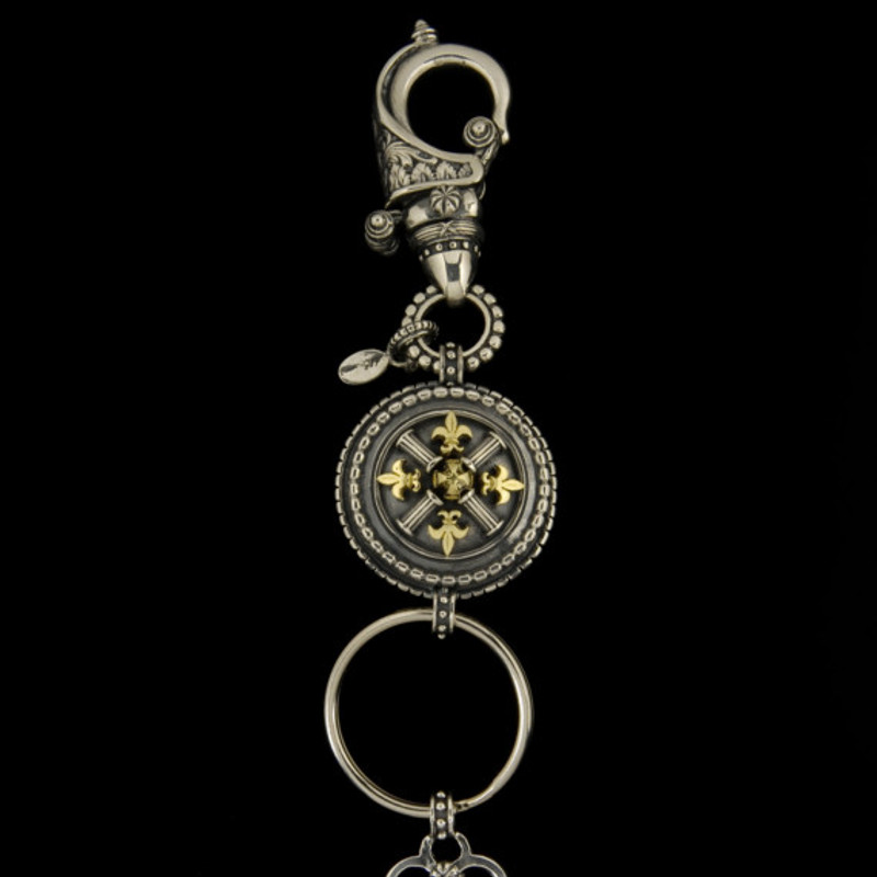 Key Chain details hand engraved in Silver and Gold by Bowman Originals, USA