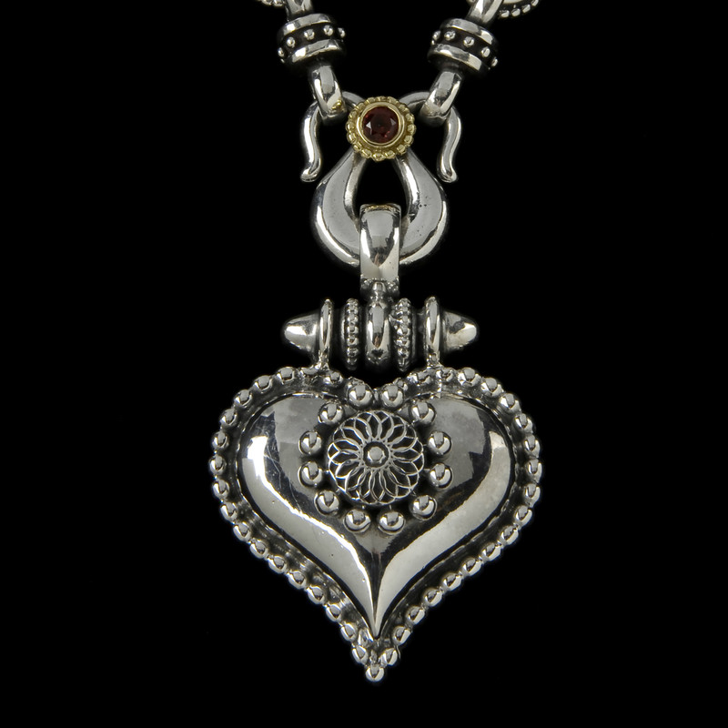 Handmade Sterling Silver, 18 K Gold and Garnet necklace by Bowman Originals, Sarasota, 941-302-9594