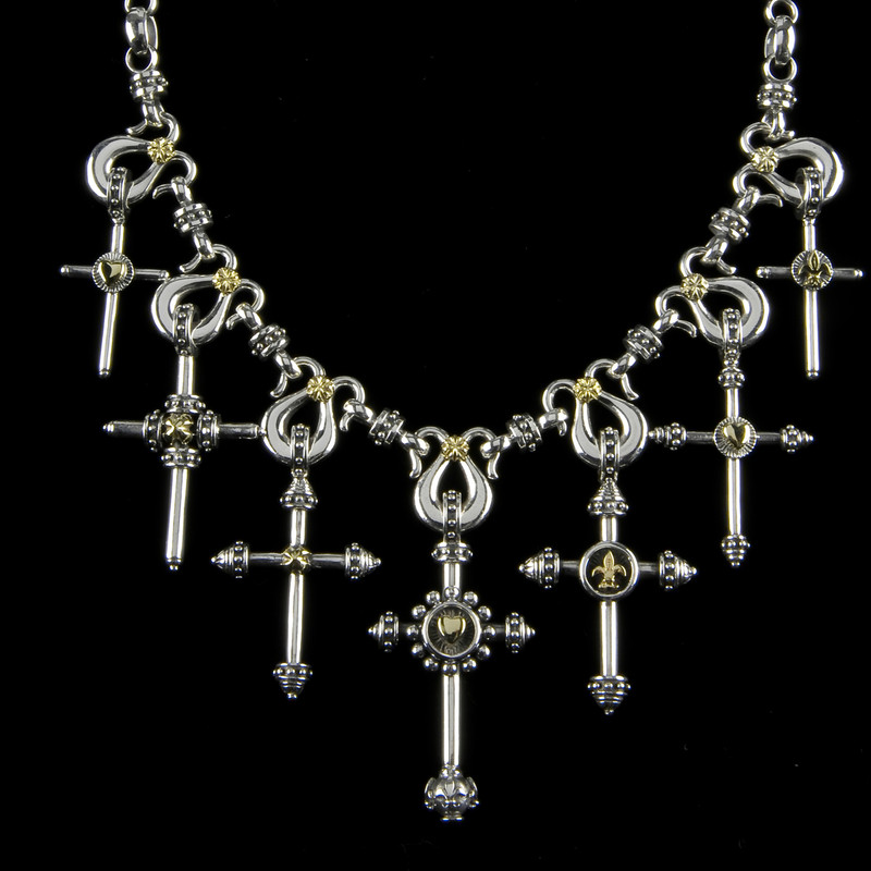Seven Cross Necklace handmade in Sterling Silver and 18 k Gold by Bowman Originals, USA