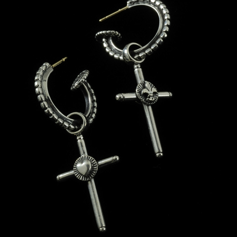 Hoop Earrings with Crosses, Silver
