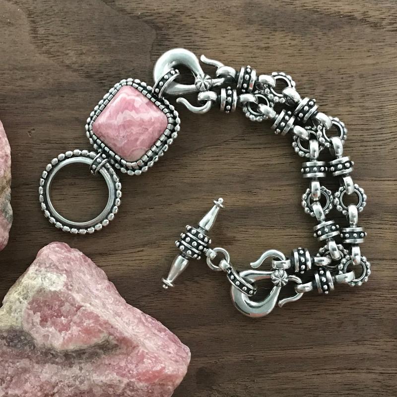 Rhodochrosite and Silver bracelet by Bowman Originals