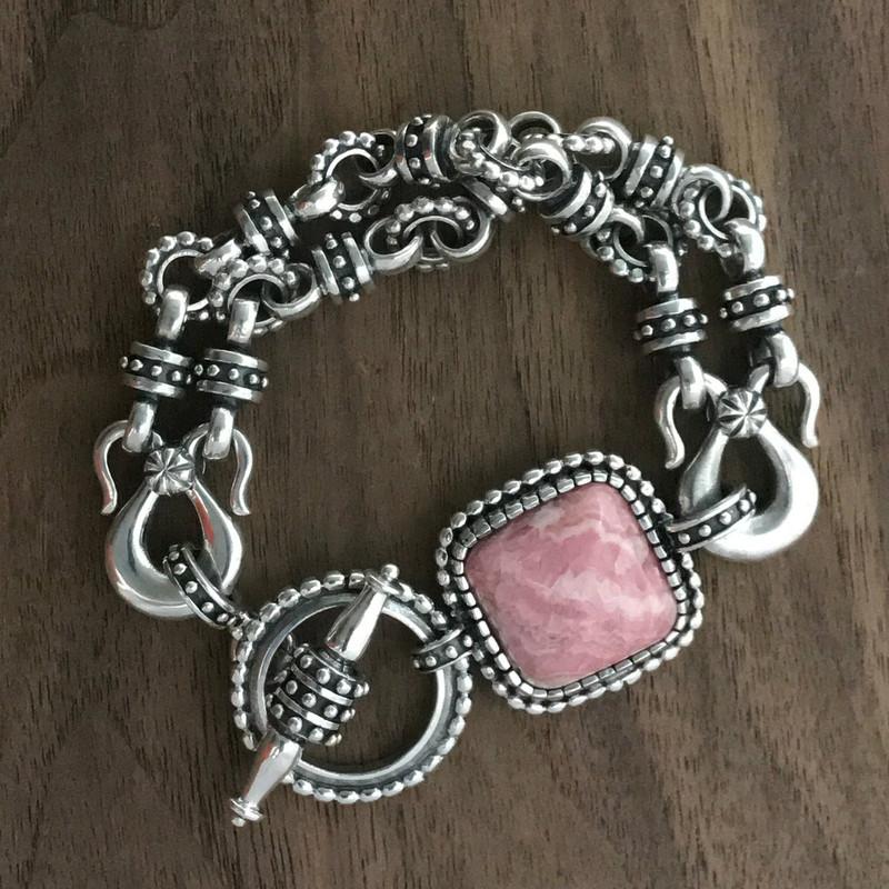 Handmade Rhodochrosite and Silver Bracelet by Bowman Originals