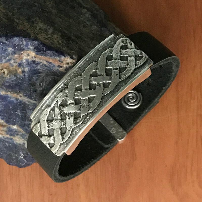 Celtic Weave Organic Silver Slide Handmade Bracelet on Leather | Bowman Originals
