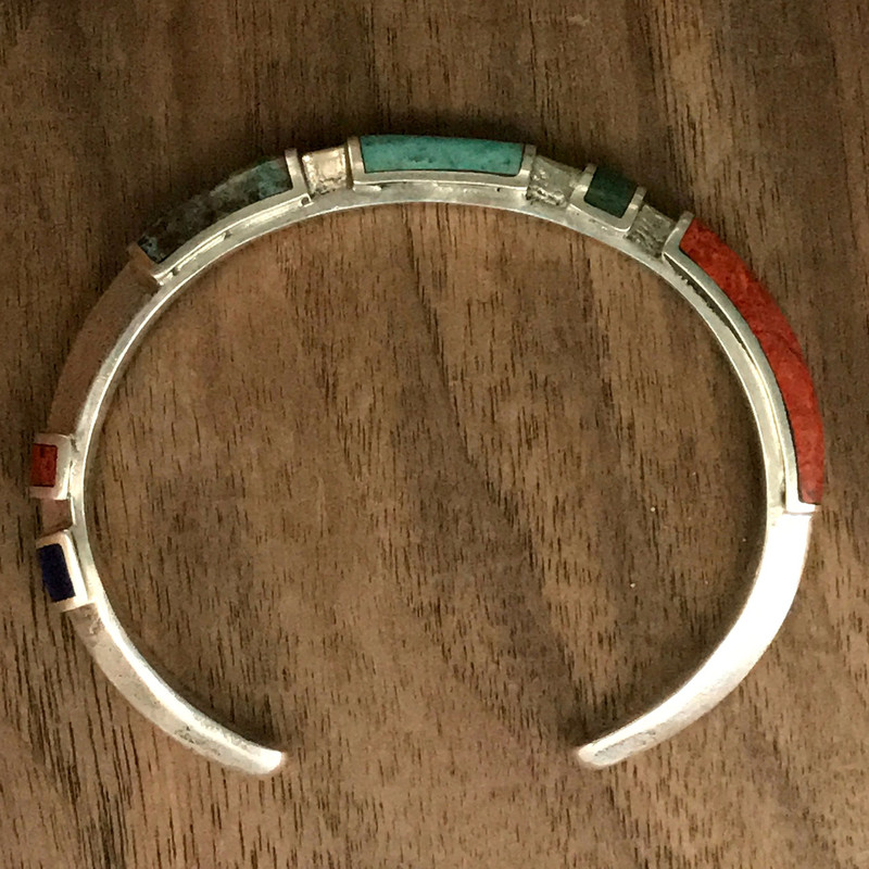 Sterling Silver Cuff bracelet with Chrysocolla and Lapis   Bowman Originals, Sarasota, 941-302-9594