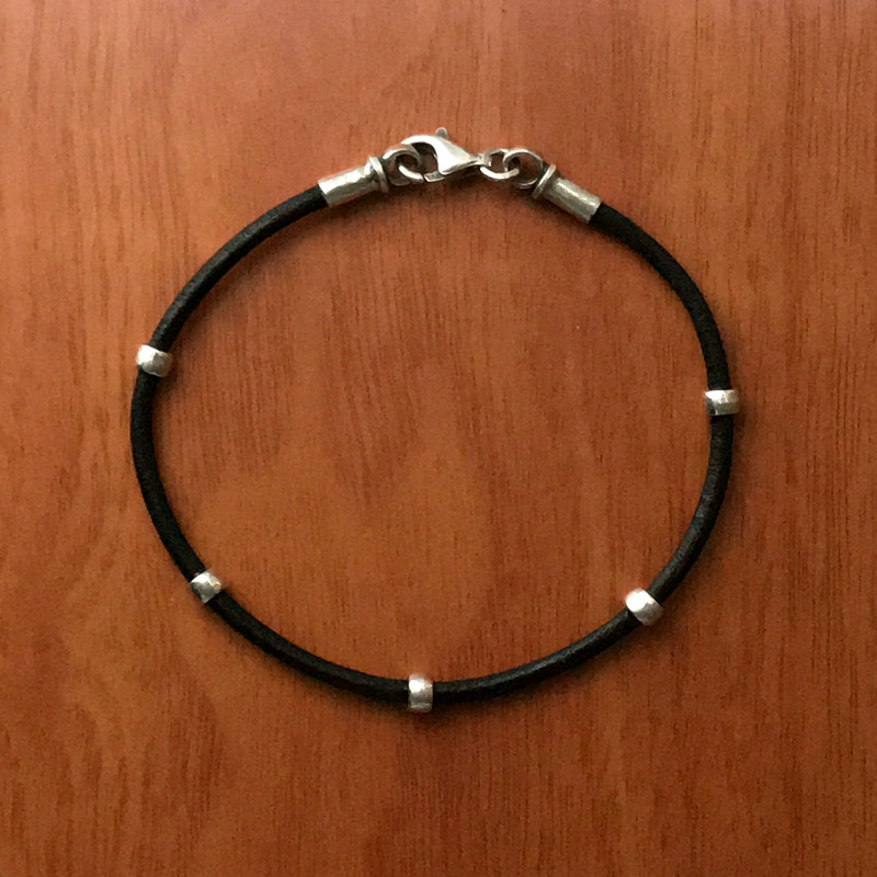 Silver and Leather black cord bracelet, 2mm, lobster clasp | Bowman Originals