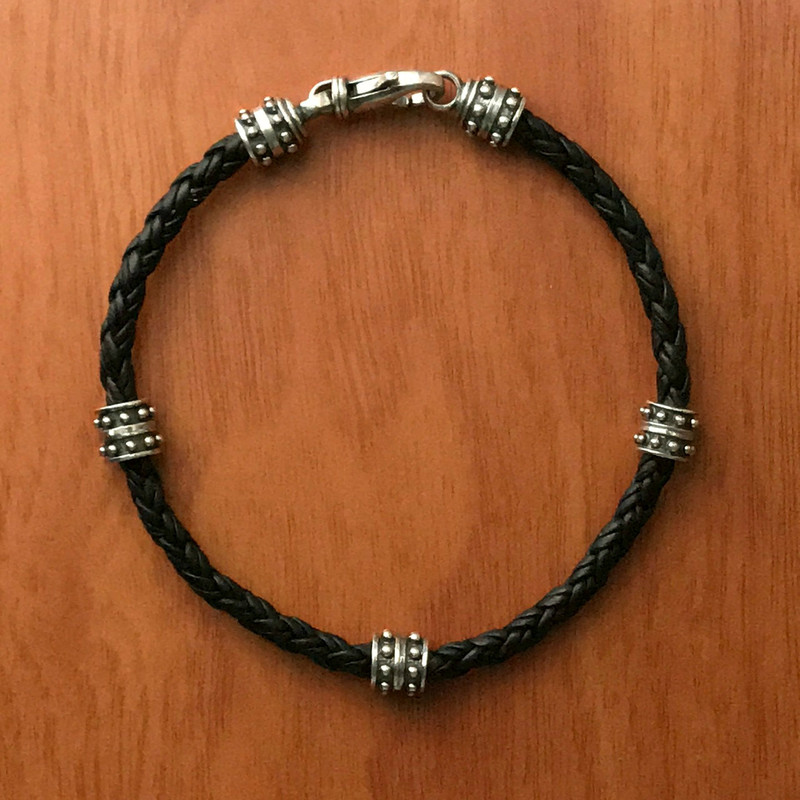 Beaded Sterling Silver and Braided Leather Cord Bracelet by Bowman Originals