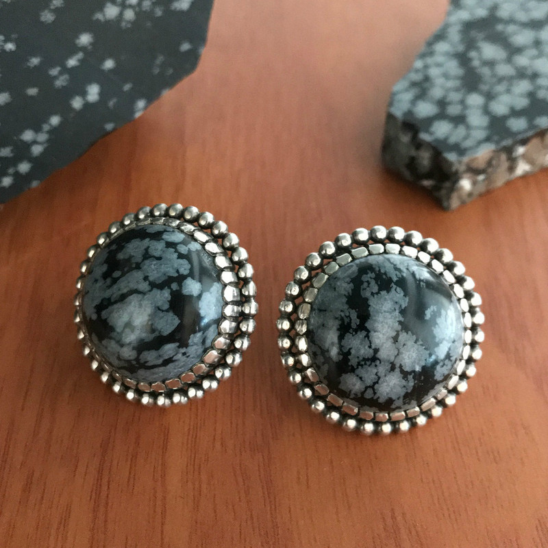 Handmade Sterling Silver and Obsidian earrings by Bowman Originals, Sarasota, 941-302-9594.
