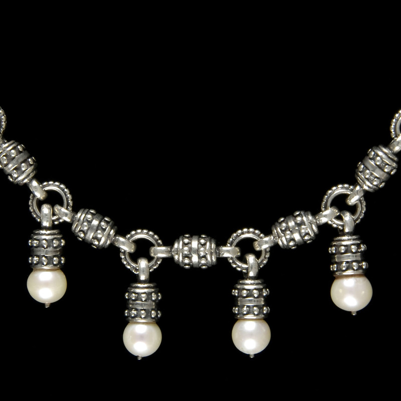 Sterling Silver and Eight Pearl link Necklace by Bowman Originals, Sarasota, 941-302-9594