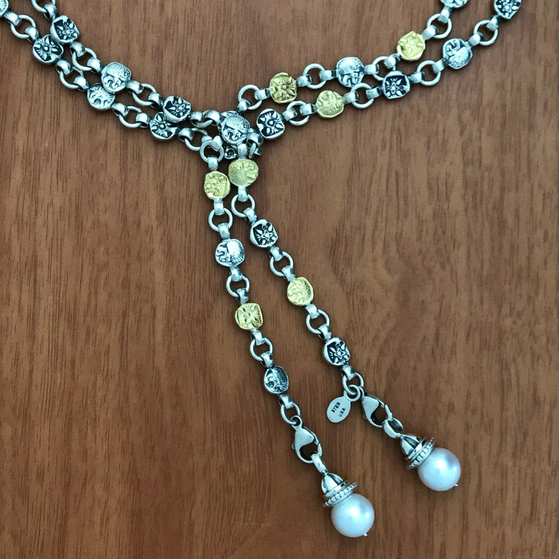 Lion Belt Necklace, Silver, Gold, Pearl by Bowman Originals.