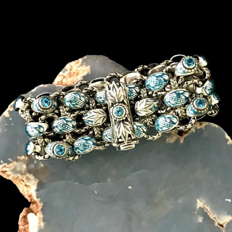 Sterling Silver, Swiss Blue Topaz, Enamel Bracelet handmade by Bowman Originals, Sarasota, 941-302-9594