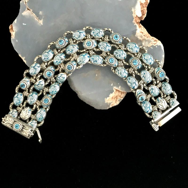 Laurel Leaf Bracelet, Sterling Silver, Blue Topaz, Enamel by Bowman Originals, Sarasota, 941-302-9594
