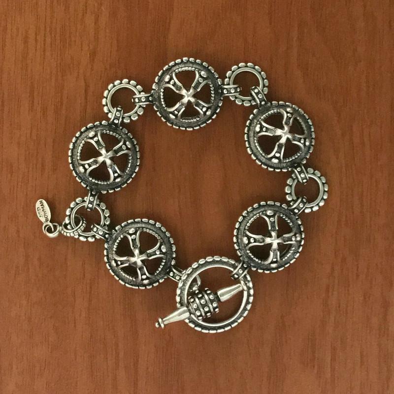Handmade Sterling Silver link toggle bracelet by Bowman Originals, Sarasota, 941-302-9594