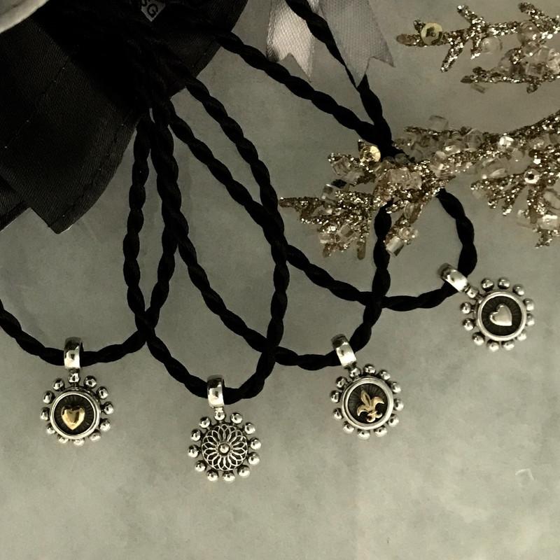 Handmade Pendants, Silver, Gold, Silk Cord by Bowman Originals, Sarasota, 941-302-9594