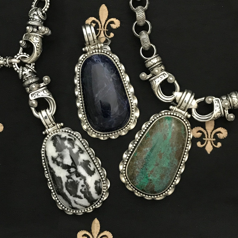 Interchangeable and adjustable handmade Sterling Silver Necklaces and Pendants by Bowman Originals, Sarasota, 941-302-9594