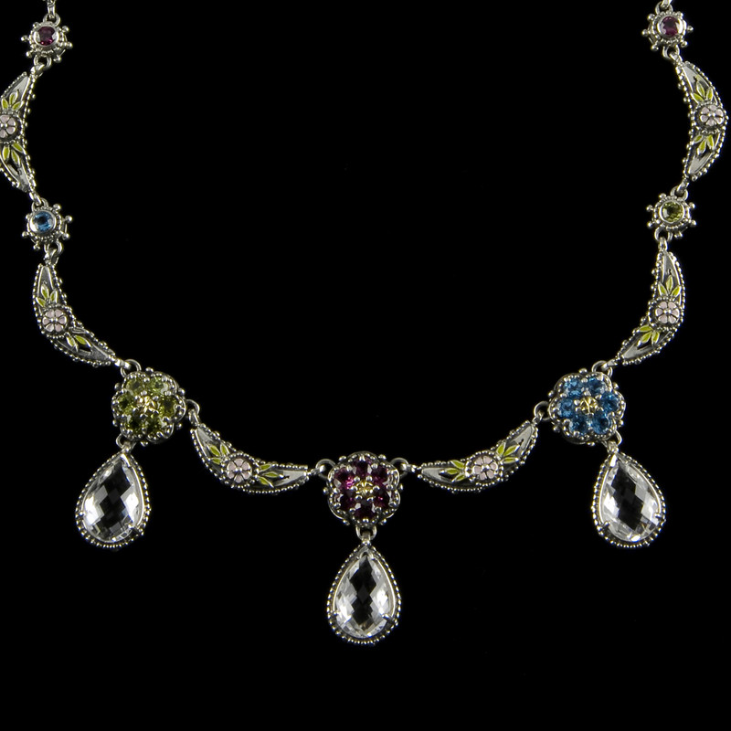 Sterling Silver, 18 k Gold, Enamel and Gemstone necklace handmade by Bowman Originals, Sarasota, 941-302-9594.