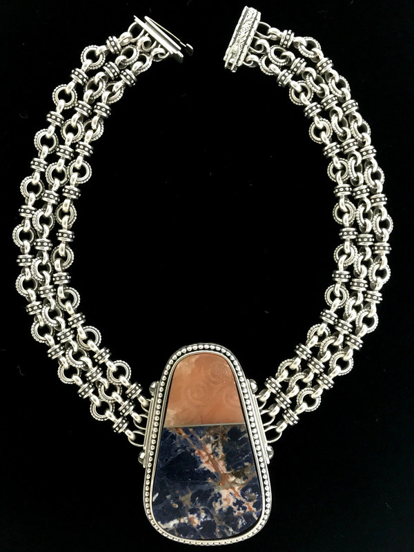 Three row handmade Sterling Silver, Sodalite and Celtic Scroll carved Alabaster Necklace by Bowman Originals, Sarasota, 941-302-9594.