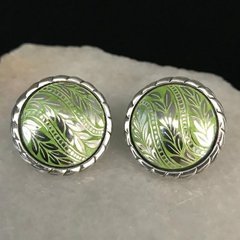 Sterling Silver and Enamel handmade Earrings by Bowman Originals, Sarasota, 941-302-9594.