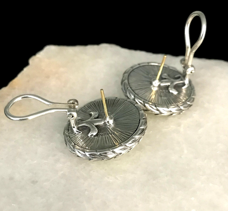 Gold posts and Omega backs on handmade silver and Enamel Earrings by Bowman Originals, Sarasota, 941-302-9594.