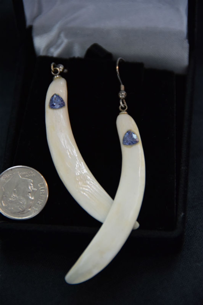 Alaskan Native crafted ivory with beautiful blue trillion Tanzanite as center stones of earring set