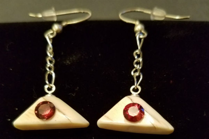 Stunning Alaskan Native crafted ivory with Red Zircon round cut gems in unique earring set